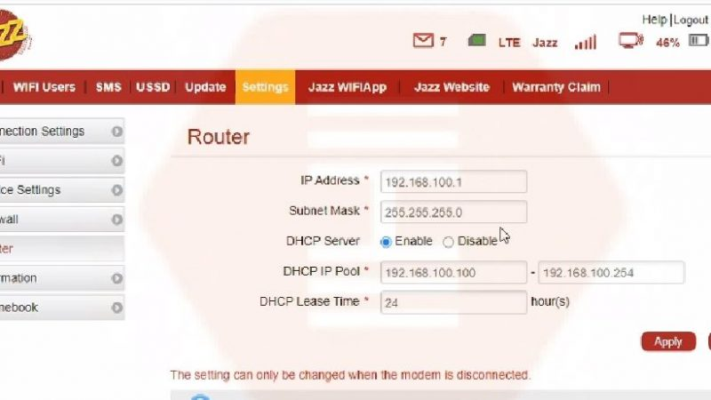 How to change IP Address on JAZZ 4G device | Configure IP settings in JAZZ 4G device
