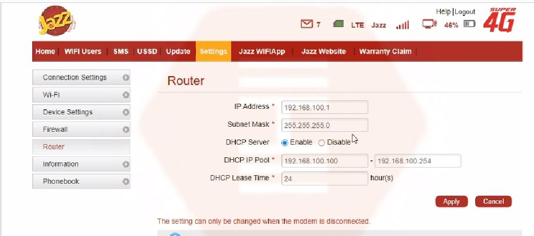 How to change IP Address on JAZZ 4G device   Configure IP settings in JAZZ 4G device
